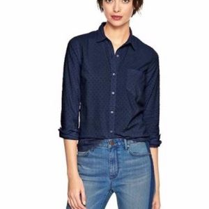 Gap Fitted Button Up Blouse Swiss Dot Navy Large